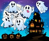 Ghosts near haunted house theme 4