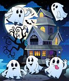 Ghosts near haunted house theme 5