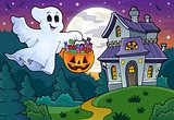 Halloween ghost near haunted house 1
