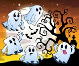 Halloween image with ghosts theme 1