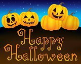 Happy Halloween sign with pumpkins 1