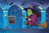 Witch on broom theme image 6
