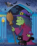 Witch with cat and broom theme image 5