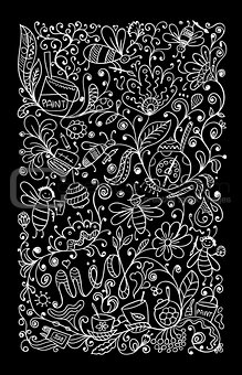 Abstract floral pattern with bees, sketch for your design