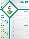 Modern cv resume template with photo in rhomb