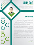 Modern cv resume cover letter template with photo in rhomb