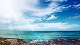 Beautiful Caribbean Sea and sunlight.