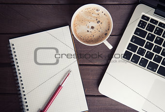 blank notepad with laptop and cup of coffee