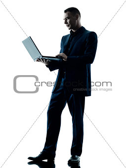 business man computer silhouette isolated