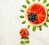 Summer fruit concept. Watermelon, blueberry and mint leaves