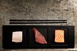 assortment of raw fish