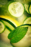 Infused water with cucumber, lemon, lime and mint