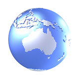 Australia on bright metallic Earth