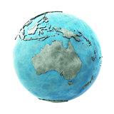 Australia on marble planet Earth