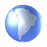 South America on bright metallic Earth