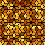 Vector Seamless Golden Shades Gradient Cube Shape Rhombus Grid Geometric Pattern