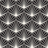 Vector Seamless Black and White Burst Lines Geometric Pattern