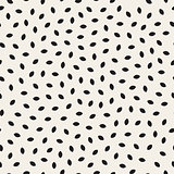 Vector Seamless Black and White Ellipse Shape Jumble Pattern