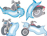 Set of motorbike templates with blue ribbons