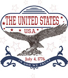 July 4th U.S. Independence Day Template with Eagle