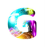 Glowing Light effect neon Font. Color Design Text Symbols. Shiny letter G