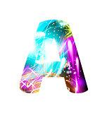 Glowing Light effect neon Font. Color Design Text Symbols. Shiny letter A