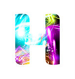 Glowing Light effect neon Font. Color Design Text Symbols. Shiny letter H