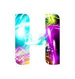 Glowing Light effect neon Font. Color Design Text Symbols. Shiny letter H