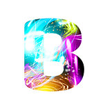 Glowing Light effect neon Font. Color Design Text Symbols. Shiny letter B