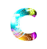 Glowing Light effect neon Font. Color Design Text Symbols. Shiny letter C