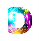 Glowing Light effect neon Font. Color Design Text Symbols. Shiny letter D