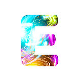 Glowing Light effect neon Font. Color Design Text Symbols. Shiny letter E
