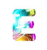 Glowing Light effect neon Font. Color Design Text Symbols. Shiny letter E