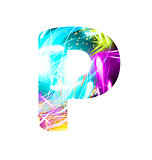Glowing Light effect neon Font. Color Design Text Symbols. Shiny letter P
