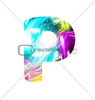 Glowing Light effect neon Font. Color Design Text Symbols. Shiny letter P