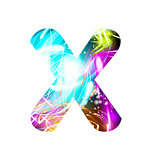 Glowing Light effect neon Font. Color Design Text Symbols. Shiny letter X