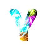 Glowing Light effect neon Font. Color Design Text Symbols. Shiny letter Y