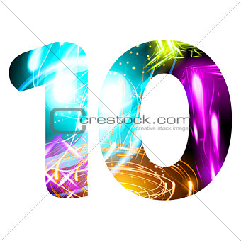 Glowing Light effect neon Font. Color Design Text Symbols. Shiny number 10