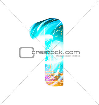 Glowing Light effect neon Font. Color Design Text Symbols. Shiny number 1