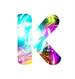 Glowing Light effect neon Font. Color Design Text Symbols. Shiny letter K