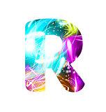 Glowing Light effect neon Font. Color Design Text Symbols. Shiny letter R