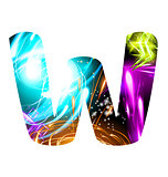 Glowing Light effect neon Font. Color Design Text Symbols. Shiny letter W