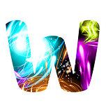 Glowing Light effect neon Font. Color Design Text Symbols. Shiny letter W