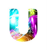 Glowing Light effect neon Font. Color Design Text Symbols. Shiny letter U