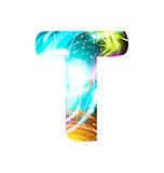 Glowing Light effect neon Font. Color Design Text Symbols. Shiny letter T