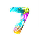 Glowing Light effect neon Font. Color Design Text Symbols. Shiny number 7