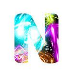 Glowing Light effect neon Font. Color Design Text Symbols. Shiny letter N
