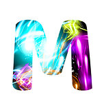 Glowing Light effect neon Font. Color Design Text Symbols. Shiny letter M