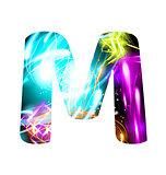 Glowing Light effect neon Font. Color Design Text Symbols. Shiny letter M