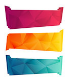 Color triangular ribbon and banner set. Ribbons from paper. Red, yelow, blue polygon Collection on white background